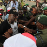 How Saraki, Dino Melaye, PDP lawmakers were attacked at INEC office [VIDEO, PHOTOS]