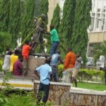 Mahatma Gandhi's statue removed from University of Ghana over claims that the Indian leader was a 'racist'