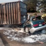 One Killed As Container Falls On Two Cars In Ikeja, Lagos (Photos)