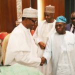 Buhari and Obasanjo all smiles as they shake hands at Council of State meeting today (Photos)