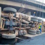 Container-laden Truck Falls Off Ijora Bridge (Photos)