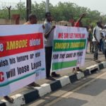 Photos Of Pro-Ambode Group Protesting His Impeachment Move At Lagos Assembly