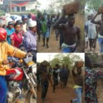 Thieves forced to carry rocks on their heads after being caught stealing (Photos)