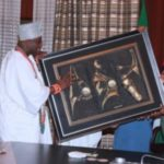 Photos Of President Buhari Meeting Yoruba Monarchs Inside Aso Rock