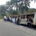 Buses Carrying Sensitive INEC Materials Burnt By Hoodlums In Akwa Ibom