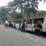 Buses Carrying Sensitive INEC Materials Burnt By Hoodlums In Akwa Ibom
