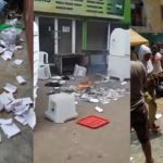 #NigeriaDecides2019: Ballot boxes destroyed as armed thugs storm polling unit in Lagos state (Photos & Video)