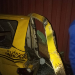 Tragedy Averted As Container Falls On Commercial Bus In Lagos (Photos)