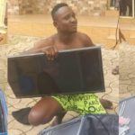 Man caught after stealing hotel's plasma TV with a trolley bag in Benue (photos)