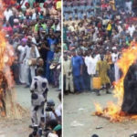 "Masquerade ""Danafojura"" Set Ablaze, Walks Out Alive At The Ojude Oba In Ogun (photos & video)"