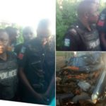 PHOTOS: Policeman Apprehended By Residents For Causing Fatal Accident Over N50 Bribe
