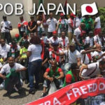 PHOTOS: Protesting Members Of IPOB Patiently Waiting For The Arrival Of President Buhari In Japan