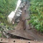 PHOTOS: Residents In Panic As Mbiaso-Ikot Ukpong Bridge In Akwa Ibom State Collapses