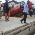PHOTOS: Car Wash Staff Suffers Accident In Lekki With Client's Car