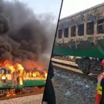 Pakistani train on fire, kills at least 65 (photos)