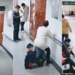 Heroic husband turns himself into a 'human chair' for heavily pregnant wife to sit in the hospital (photos & video)