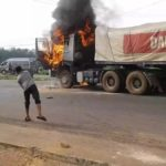 Mob Sets Dangote Trucks Ablaze After Crushing Six To Death In Ogun