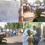 APC Youths Stage Protest At Party Headquarters, Demand Oshiomhole's Sack (photos)