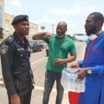 PHOTOS: Dave Ogbeni Distributes Bottled Water To All Police Check Points In Delta State