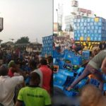 Residents Troop Out To Drink To Stupor After A Trailer Of Beer Fell In Anambra State (PHOTOS & VIDEO)