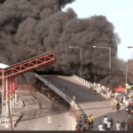 PHOTOS & VIDEO: One Dead As Petrol Tanker Catches Fire In Obalende