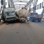 5 People Narrowly Escape Tragic Death As Fuel Tanker And Truck Collide At River Niger Bridge
