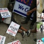 Photos: Woman Slumps While Protesting Against Her Sack By Cross River State Government