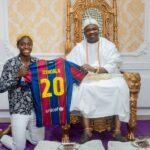 Asisat Oshoala Presents Barcelona Jersey To Oba Elegushi (Photos)