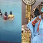 Children enjoying a swim in Oba of Lagos' pool after hoodlums vandalised his palace (photos & video)
