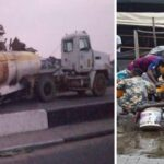 Residents Scoop Fuel After Tanker Upturns On Festac Link Bridge, Lagos (PHOTOS)