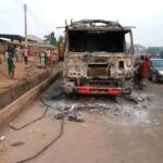 Irate Mob Set Truck On Fire For Allegedly Crushing Boy In Saki, Oyo (Photos)