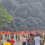 VIDEO: Huge Fire Breaks Out In Lagos, Following A Tanker Explosion