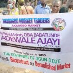 Photos: Ogun traders protest Gov Abiodun's refusal to rebuild burnt Sabo market