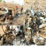GRAPHIC PHOTOS: Herdsmen Kill Two, Burn Amotekun Vehicle In Ondo