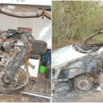 Hunters searching for abducted doctor, nurse attacked in Ogun, 2 shot, vehicles, bikes burnt (photos)