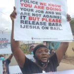 Breaking: Yomi Fabiyi, Others Protest At Panti Over Baba Ijesha's Detention (photos)