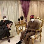 Buhari visits Tinubu in London (photos)