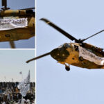 PHOTOS: The Taliban Flew A Black Hawk Helicopter Over A Parade Of Military Equipment Captured When It Overran Afghanistan